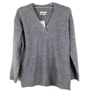 Mango Wool Gray Jersey Betsy Sweater Sz Medium